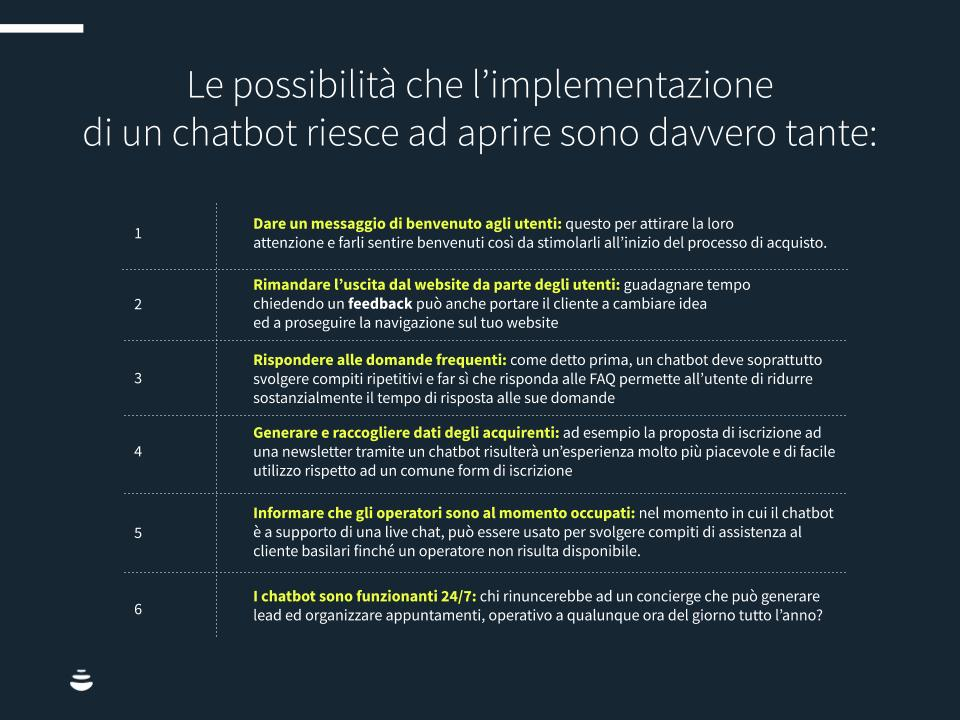 Infografica: le possibilità che l'implementazione di un chatbot riesce ad aprire sono davvero tante.
