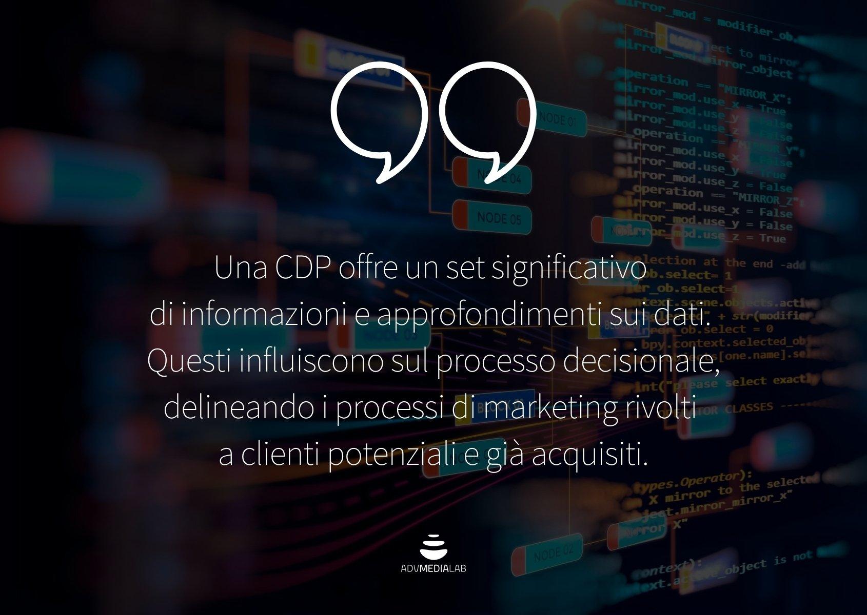 Una customer data platform offre un set significativo di informazioni e approfondimenti sui dati.