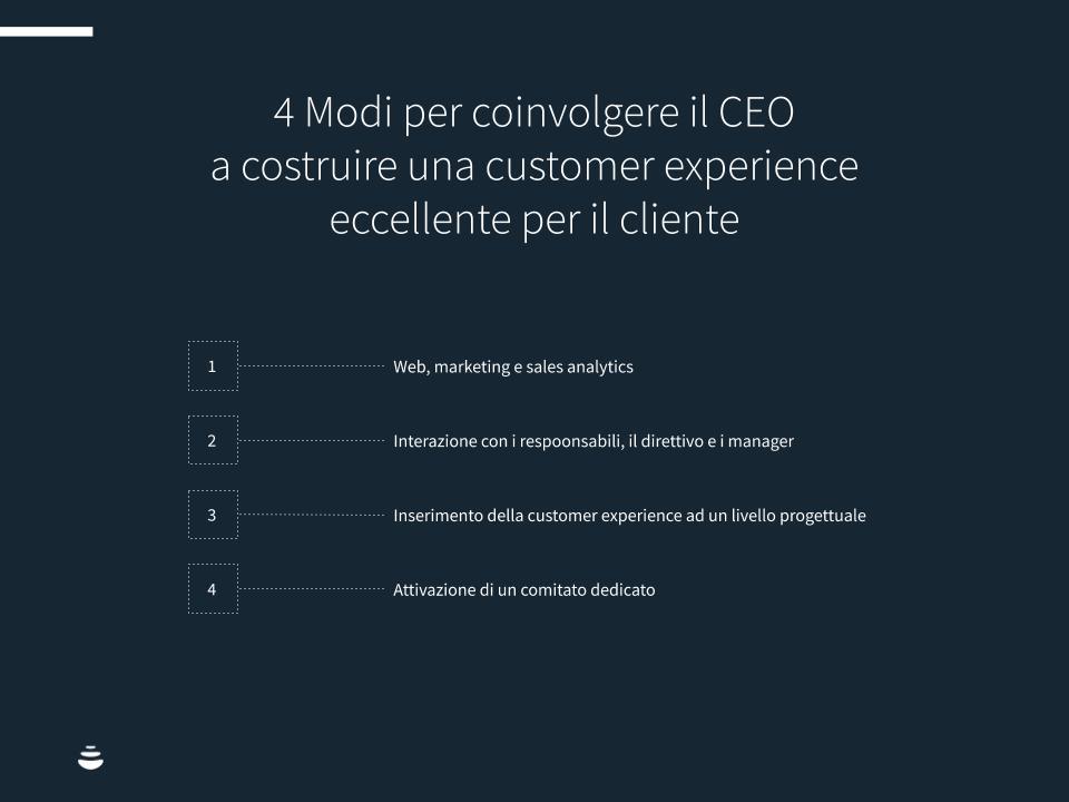 4 Modi per coinvolgere il CEO a costruire una customer experience eccellente per il cliente.