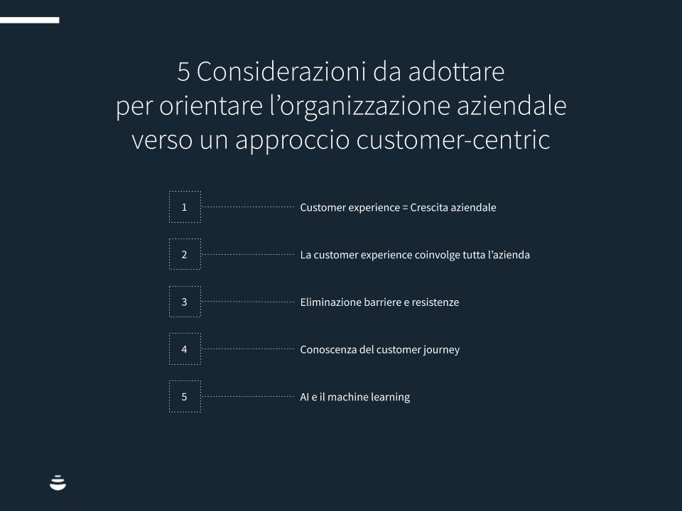 5 Considerazioni da adottare per orientare l'organizzazione aziendale verso un approccio customer-centric.