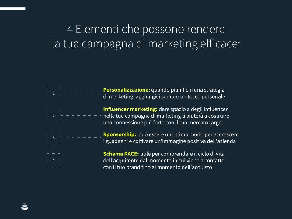 Quattro elementi che possono rendere la tua campagna di marketing: personalizzazione, influencer marketing, sponsorship e schema RACE