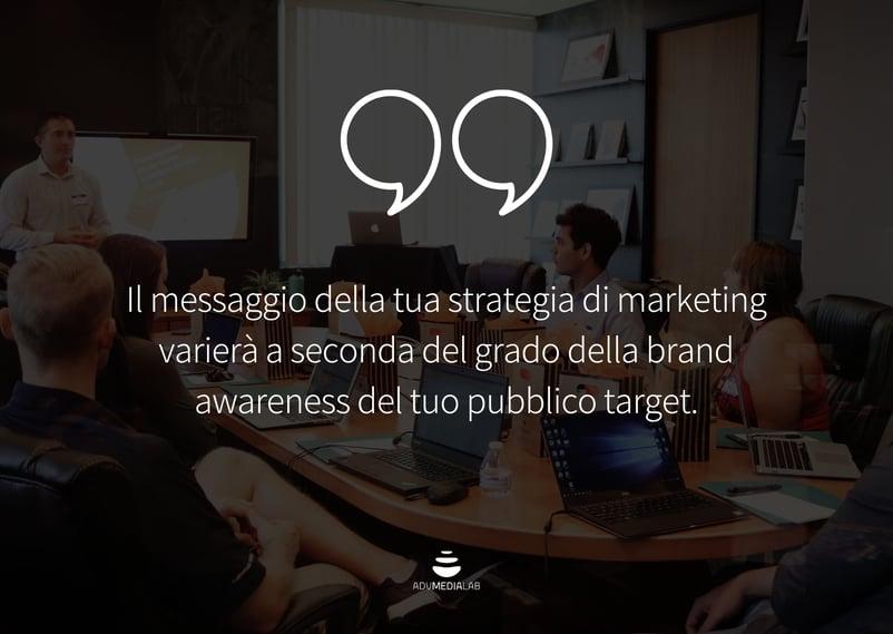 Il messaggio della tua strategia di marketing varierà a seconda del grado della brand awareness del tuo pubblico target.