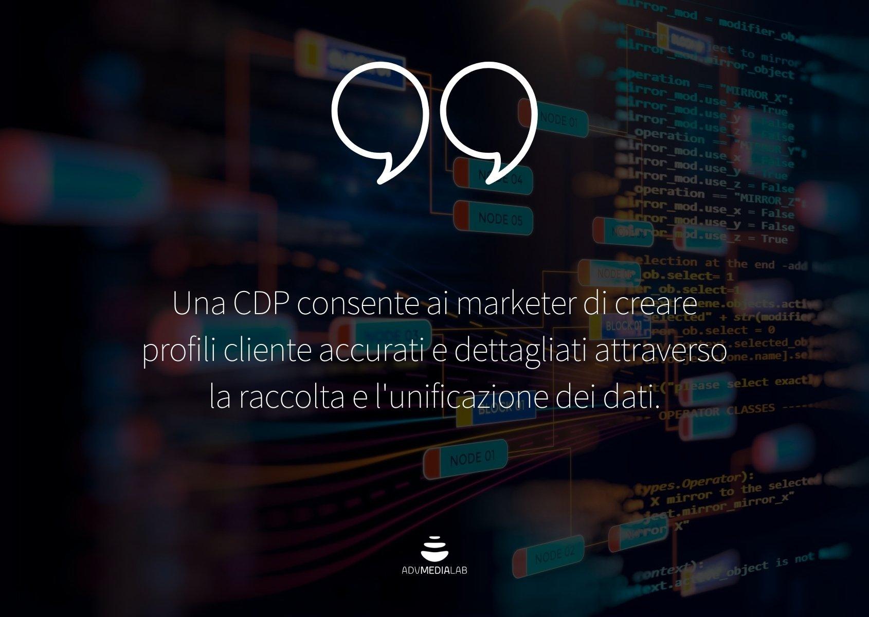 Una CDP consente ai marketer di creare profili cliente accurati e dettagliati.