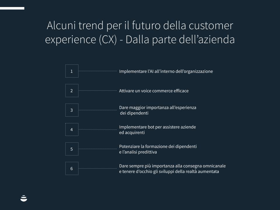Alcuni trend per il futuro della customer experience (CX) dalla parte dell'azienda