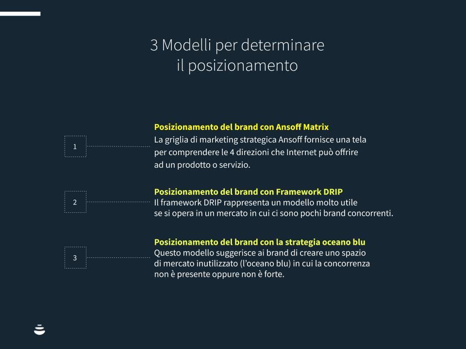 Ci sono tre modelli per determinare il posizionamento del brand.