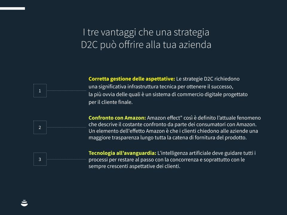 Infografica: i tre vantaggi che una strategia D2C può offrire alla tua azienda.